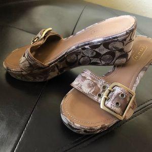 COACH Simone Wedge Women's Shoes 8 Bronze Wedges